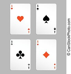 vector ace playing cards, four on white background