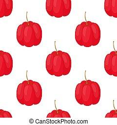 Vector acerola berry seamless pattern. Cherry superfood. Cartoon flat style