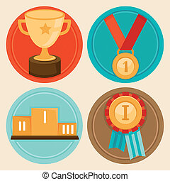 Vector achievement badges and emblems in flat style - success concepts and icons