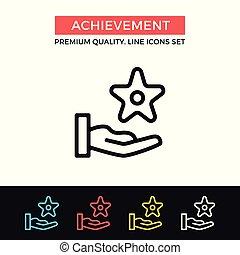 Vector achievement icon. Reward, award concepts. Premium quality graphic design. Modern signs, outline symbols collection, simple thin line icons set