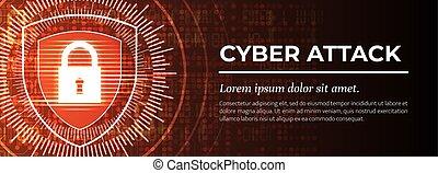 vector., achtergrond., digitale , cyber, rood, moderne, attack.