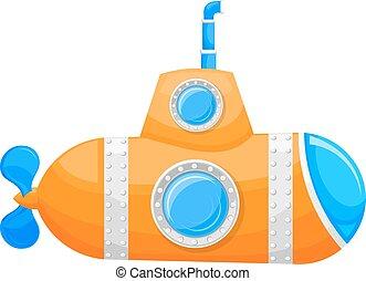 vector, achtergrond., gele, duikboot, periscoop,...