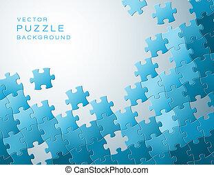 vector, achtergrond, gemaakt, van, blauwe , puzzelstukjes