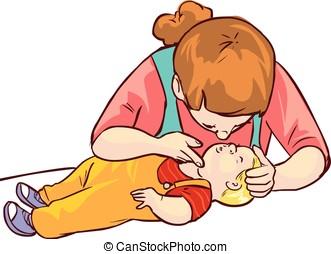 vector, achtergrond, hulp, witte , baby, eerst, illustratie