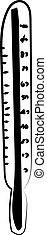 vector, achtergrond., illustratie, thermometer, witte