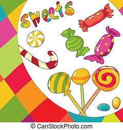 vector, achtergrond, kleurrijke, sweets., illustratie