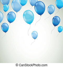 vector, achtergrond, met, blauwe , ballons