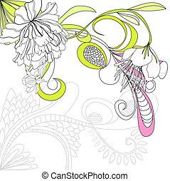 vector, achtergrond, met, bloemen