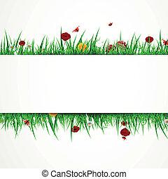 vector, achtergrond, met, gras, en, bloemen