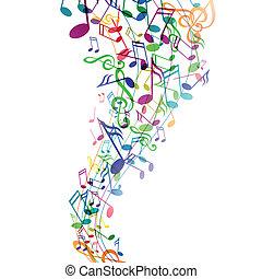 vector, achtergrond, met, muzieknota's