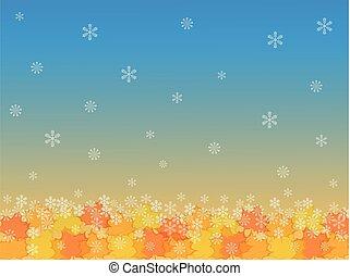 vector, achtergrond, met, snowflakes, en, dalingsbladeren