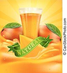 vector, achtergrond, schijfen, mango, glas, mango, sap