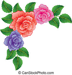 vector, achtergrond, van, kleurrijke, rozen, met, bladeren