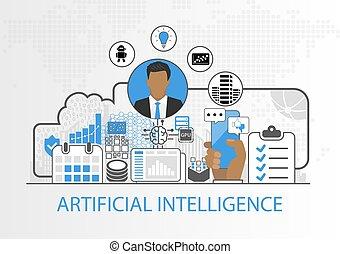 vector, achtergrond, van, zakenman, en, iconen, voor, kunstmatige intelligentie, concept