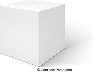 vector, achtergrond, vrijstaand, witte , doosje