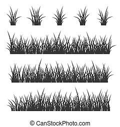 vector, achtergrond., witte , set, gras