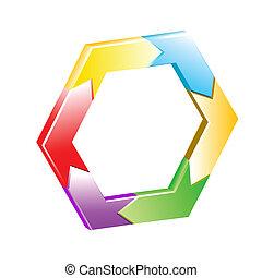 vector, achtergrond, zeshoek