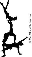 vector, acróbatas, gimnastas