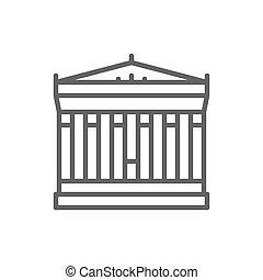 Acropolis of Athens, Greece, landmark line icon.