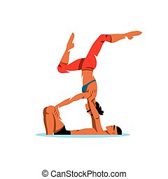 Vector Acroyoga Cartoon Illustration. - Couple practicing...