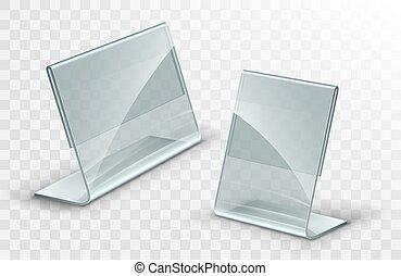 Vector acrylic table tent. Card holder isolated on ...
