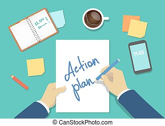 vector action plan list concept. businessman hands with pen, coffee and a sheet of paper