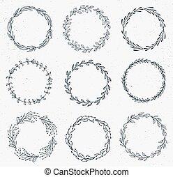vector, acuarela, floral, hand-drawn, marco, conjunto, hecho