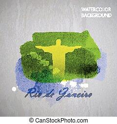 vector, acuarela, ilustración, de, brasileño, el, jesucristo, rojo