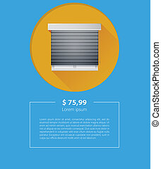 Vector ad layout for sale of window with roller shutters