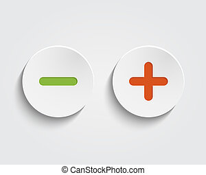 Vector add, cancel, or the plus and minus signs on buttons or circles icon isolated on white background