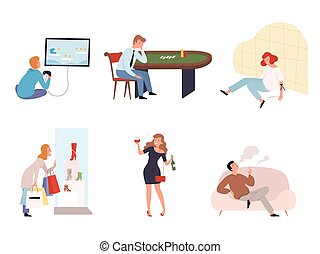 vector, adictos, social, gamers, casino, dependencia, ...