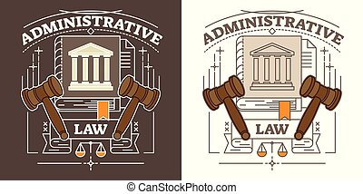 Vector administrative law illustration. Brown and white visualization with hammer, courthouse, justice scale and truth book. Authority and government symbol.