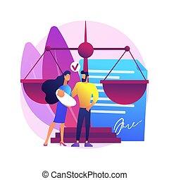 vector, adopción, illustration., niño, concepto, resumen