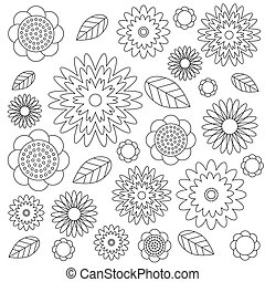 vector adult coloring book page irregular floral pattern black and white - flowers and leaves - wildflovers meadow