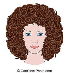 vector adult coloring book page portrait of woman with curly brown hair colored