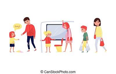 vector, adults., cortés, illustration., ayuda, clase, niños