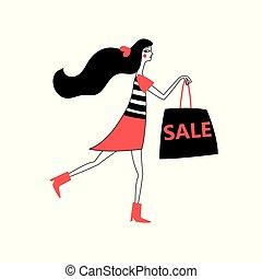 Vector advertising illustration of a girl running