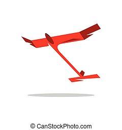 Vector Aeromodelling Cartoon Illustration. - Red handmade...