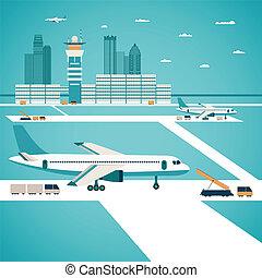 vector, aeropuerto, concepto