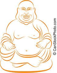 vector, afortunado, buddha