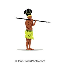 Vector African aborigine Cartoon Illustration. - Warrior...