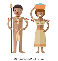 Vector African aborigines. Flat style colorful Cartoon...
