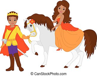 Vector African American Prince and Beautiful Princess