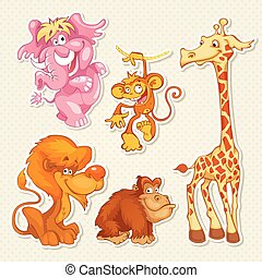 Vector African animals in cool cartoon style