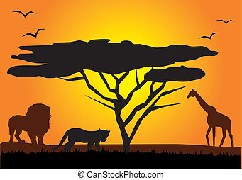 africa - vector african landscape with animals