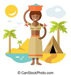 Vector African laundress. Flat style colorful Cartoon illustration.