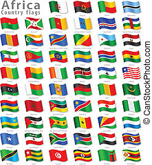 Vector Collection of all African National Flags, in simulated 3D waving position, with names and grey shadow. Every Flag is isolated on its own layer with proper naming.