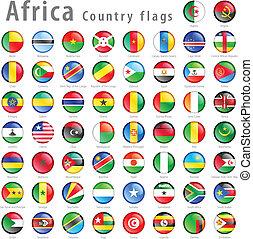 vector, africano, bandera nacional, botón, conjunto