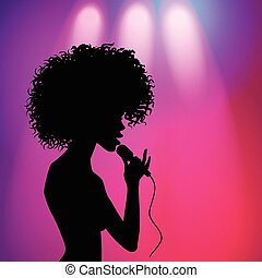 vector afro american girl singing silhouette - vector afro...