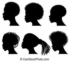 vector, afro, siluetas, norteamericano, negro, cara, mujer, joven